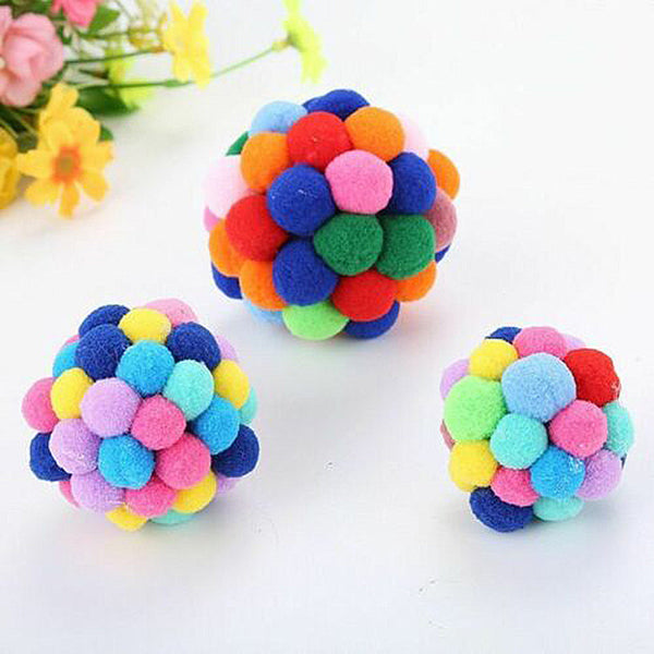 Colorful Handmade Bouncy Pet Cat Interactive Chewing Ball Hot Sale - doggiebox Australia
