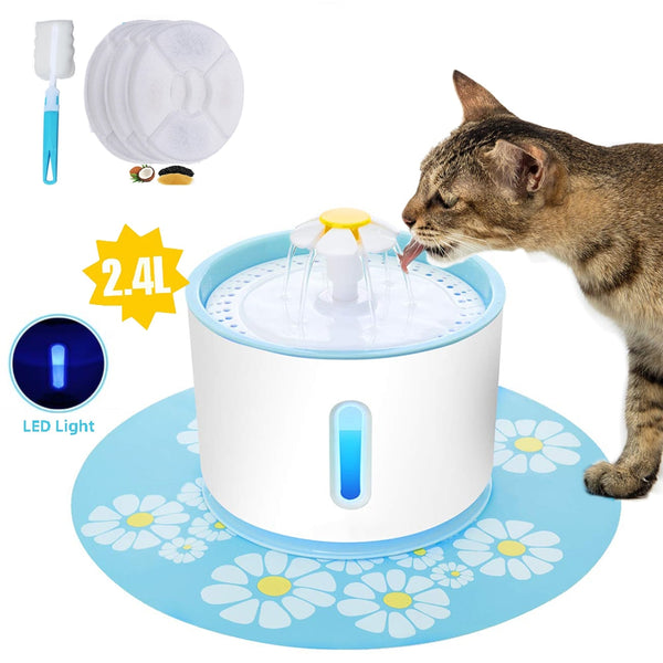 2.4L USB Dog Feeder Drinking Bowl Dispenser With 3 Carbon Filters and 1 Brush - doggiebox Australia