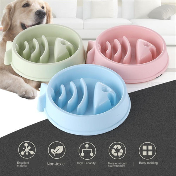 Interactive Puppy Food Plate Dishes,Slow Eating Fish Bone Shape Dog Bowl - doggiebox Australia