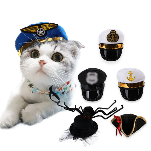 Funny Halloween Cap Police Hat Holiday Costume Chihuahua Yorkshire Pet Cat Dog - doggiebox Australia