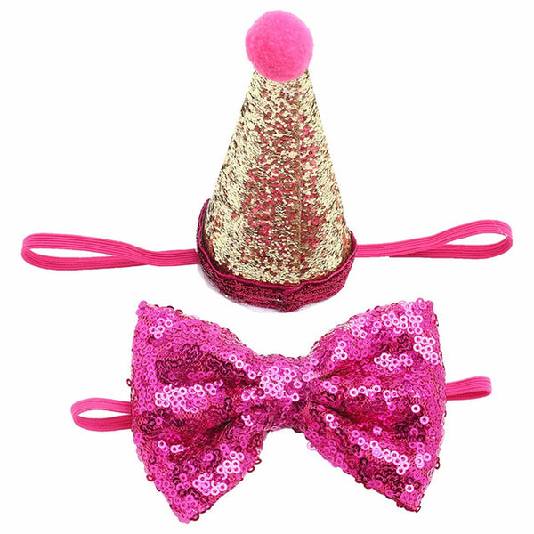 2Pcs/set Christmas Party Birthday Costume Sequin Headwear Cap Hat With Bowknot for Pet Cat Pets - doggiebox Australia