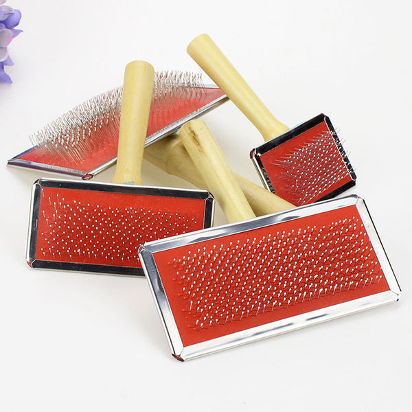 4 Size Wooden Handle Needle Comb Grooming Comb Hair Brush for Pet Dog - doggiebox Australia