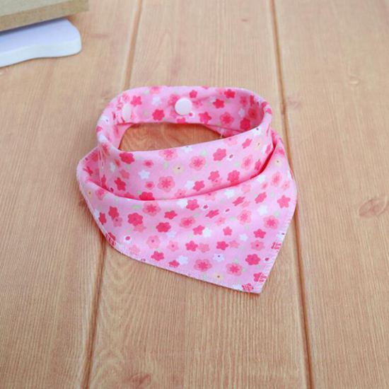 Pink flower Personality Bow Tie Cotton Bandana Scarf Plaid Washable Bib Pet Accessories - doggiebox Australia