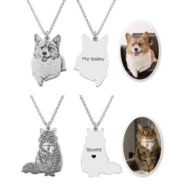 Custom Pet Cat Photo Engraved Words Silver Necklace Pendant Necklace Women Men Gift - doggiebox Australia