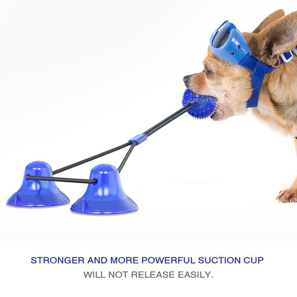 Pet Toys with Suction Cup TPR Ball for Pet Tooth Cleaning Chewing - doggiebox Australia