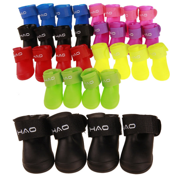 4Pcs/set S/M/L Portable Rubber Anti Slip Autumn and winter Waterproof Rain Shoes Booties for Dog Cat - doggiebox Australia