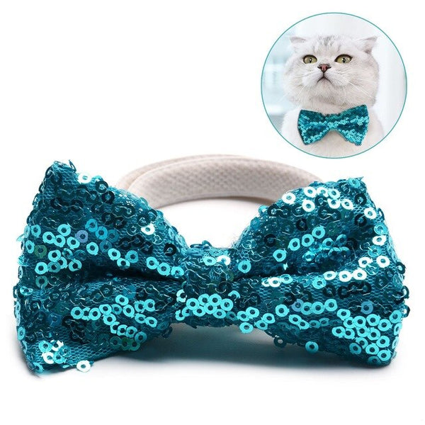 Pets Grooming Accessories Sequin Bow Tie Clothes Cat Dog Puppy Necktie for Birthday Christmas - doggiebox Australia