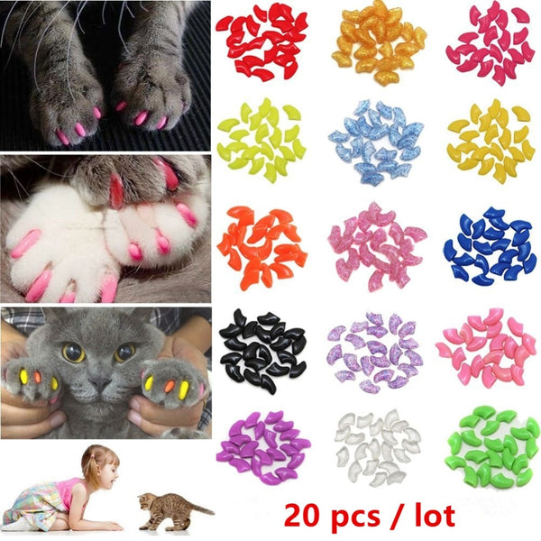 Nicrew 20 pcs Colorful Soft Silicone Cat Nail Caps  Paw Claw Nail Protector Cover - doggiebox Australia