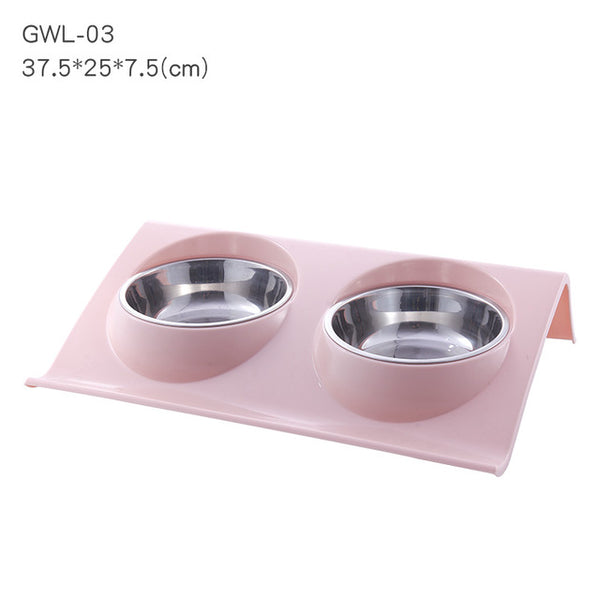 Stainless Steel S/M Dishes Double Bowls Food Water Feeder for Dog Puppy Cats - doggiebox Australia
