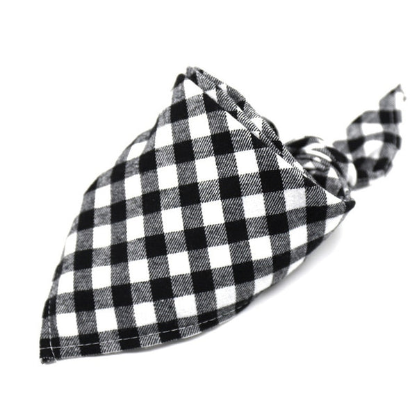 Dog Bandanas Large Pet Scarf Cotton Plaid Washable Bow ties Collar - doggiebox Australia