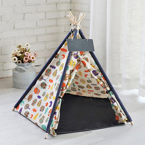 Linen Pet Tent Teepee Indoor Outdoor Portable Kennels with mat - doggiebox Australia