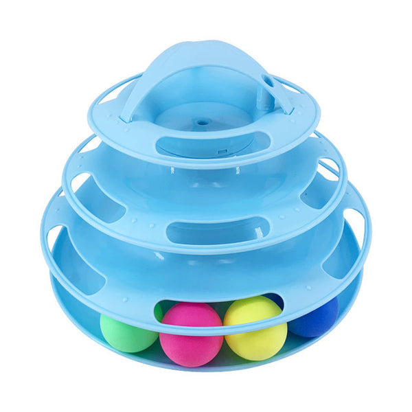 3 Levels Interacitve Amusement Plate jouet Tower Tracks Kitten Training - doggiebox Australia