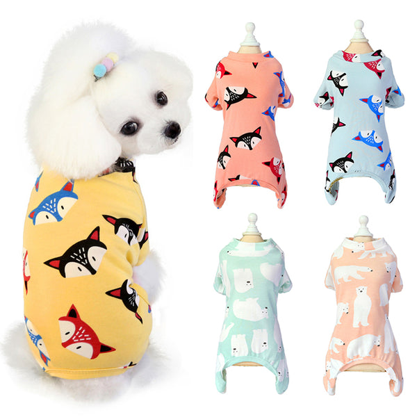 Summer Cotton Fox Bear Print Jumpsuit Pajamas for Small Dogs Cats Puppy Yorkshire Mascoats - doggiebox Australia