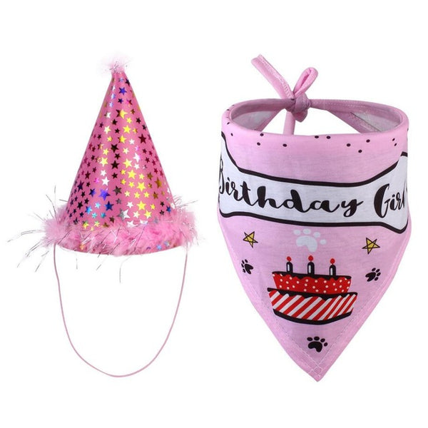 Pet Dogs Caps Bibs Birthday Costume Design Head-wear Hat Christmas Bandana Hat Scarf - doggiebox Australia