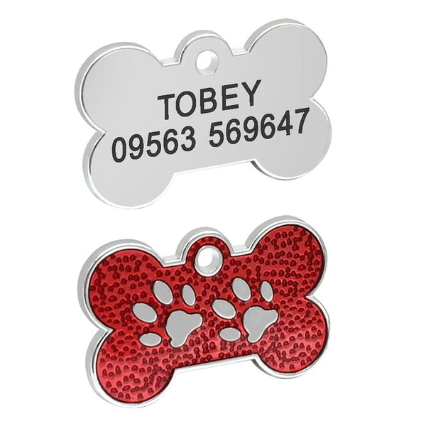 Engraved Pet ID Name Collar Tag Pendant Accessories Bone/Paw Glitter - doggiebox Australia