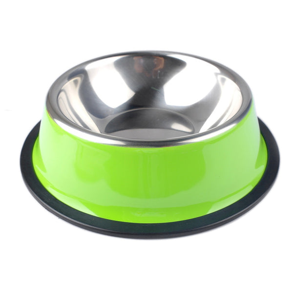 Stainless Steel Color Spray Paint Non-slip Pet Dog Bowls Puppy Cats Drink Water Feeder - doggiebox Australia