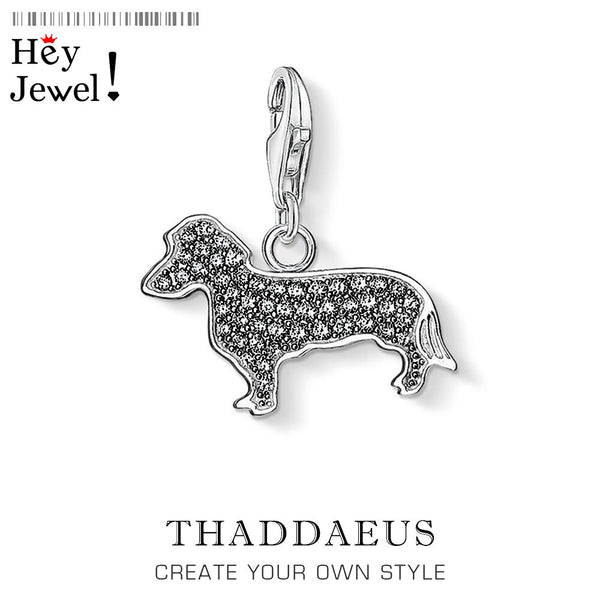 Spring Sterling Silver Black Dachshund Pet dog Charms Pendant Bracelet Necklace - doggiebox Australia