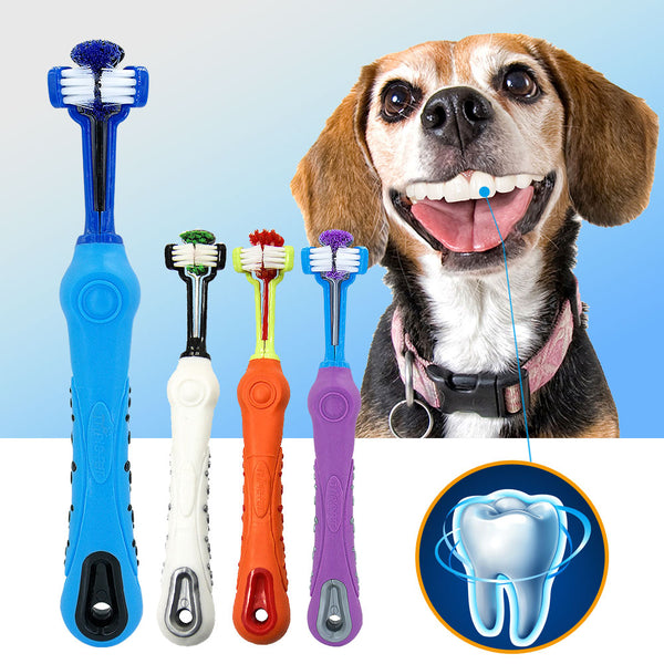 Toothbrush Soft Pet Cat Toothbrush with Three Sided Rubber Bad Breath Tartar - doggiebox Australia