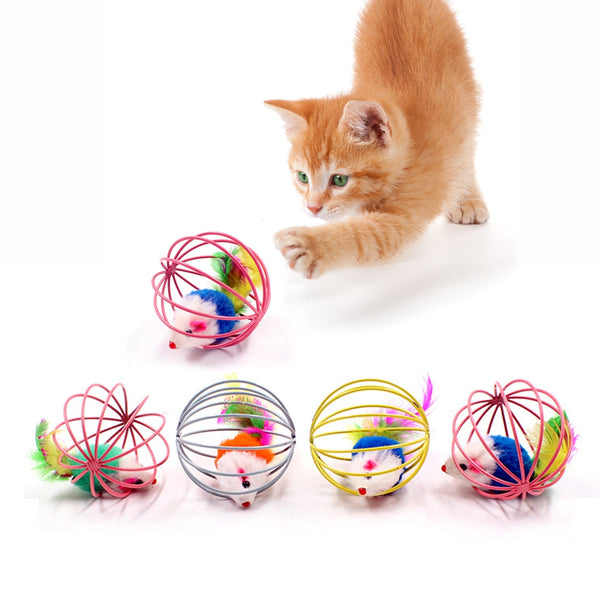 Cat Interactive Toy Stick Feather Wand With Small Bell Mouse Cage - doggiebox Australia