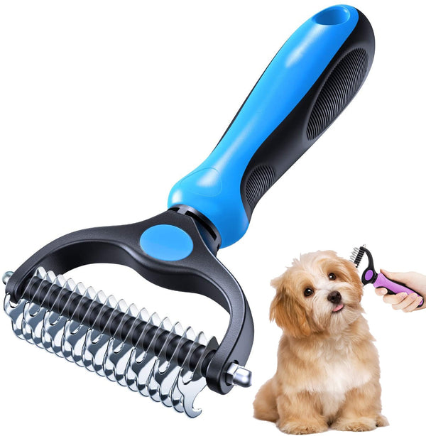 Double Sided Shedding and Dematting Undercoat Rake Comb for Dogs Cats Pet - doggiebox Australia