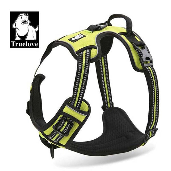 Reflective Nylon Harness Ves Padded Adjustable Safety Vehicular Lead For Dogs Pet - doggiebox Australia