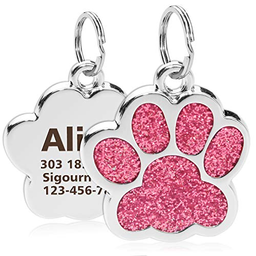 Personalized Pendant ID Tags Engraved Name Number Address Cat Dog Collar Necklace Charm Pet Puppy - doggiebox Australia