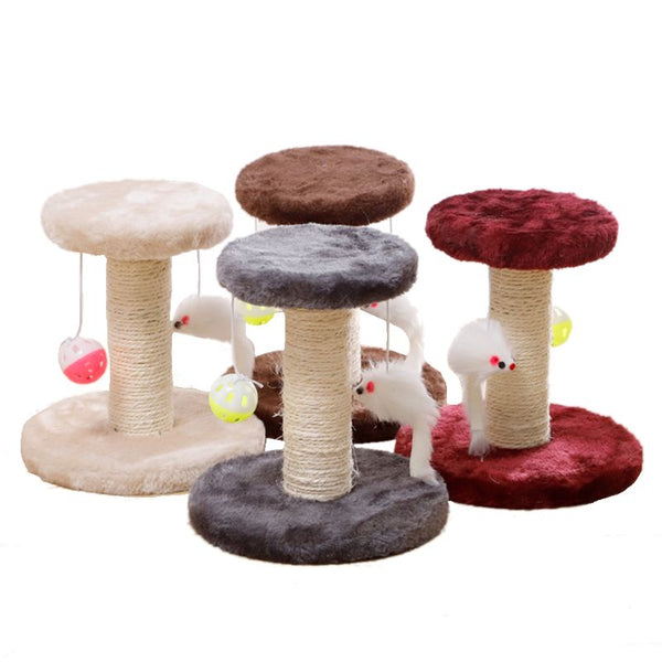 Double-layer Climbing Frame with Plush Hanging Ball and Mouse for Indoor Grinding Claw Cat Toy Pet - doggiebox Australia