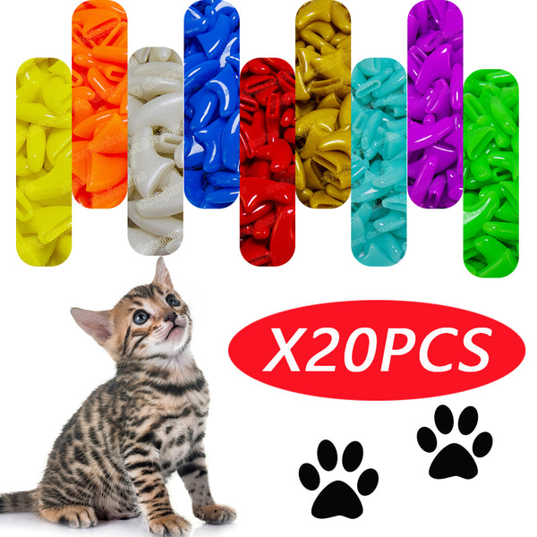 20pcs Anti- Scratch Silicone Soft Cat Nail Caps Paw Claw Nail Protector Cover with free Glue - doggiebox Australia
