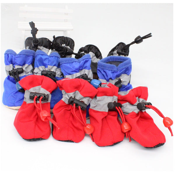 4pcs/set Thick Snow Waterproof Anti-slip Shoes Boots Socks for Small Dogs Pet Cats Chihuahua Yorkie - doggiebox Australia