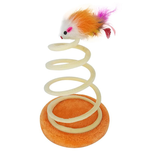 Funny Interactive Spring Spiral Pets Cats Mice Toys  Playing Scratching Tree - doggiebox Australia