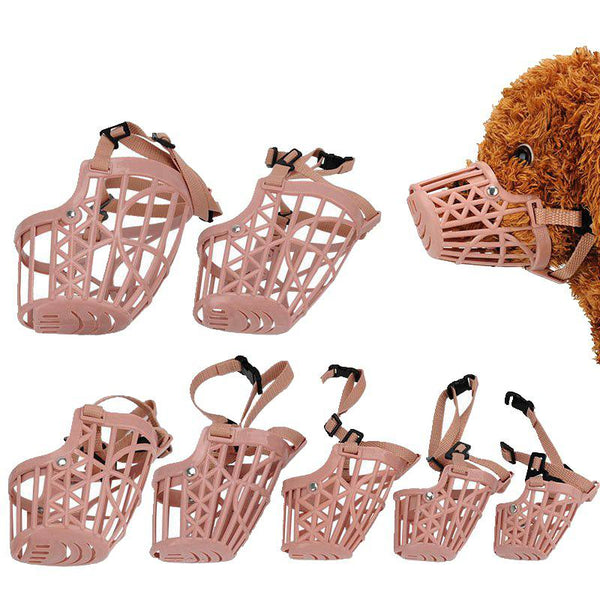 Brown Strong Plastic Basket Design Anti-biting Adjusting PU Straps Bark Chew Muzzles for dog - doggiebox Australia