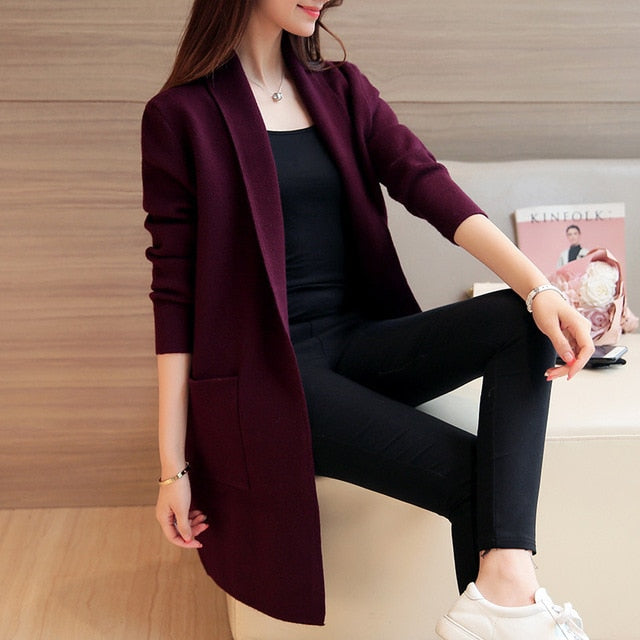 Aishgwbsj 2018 New Spring Autumn Knitted Sweater Cardigan Women