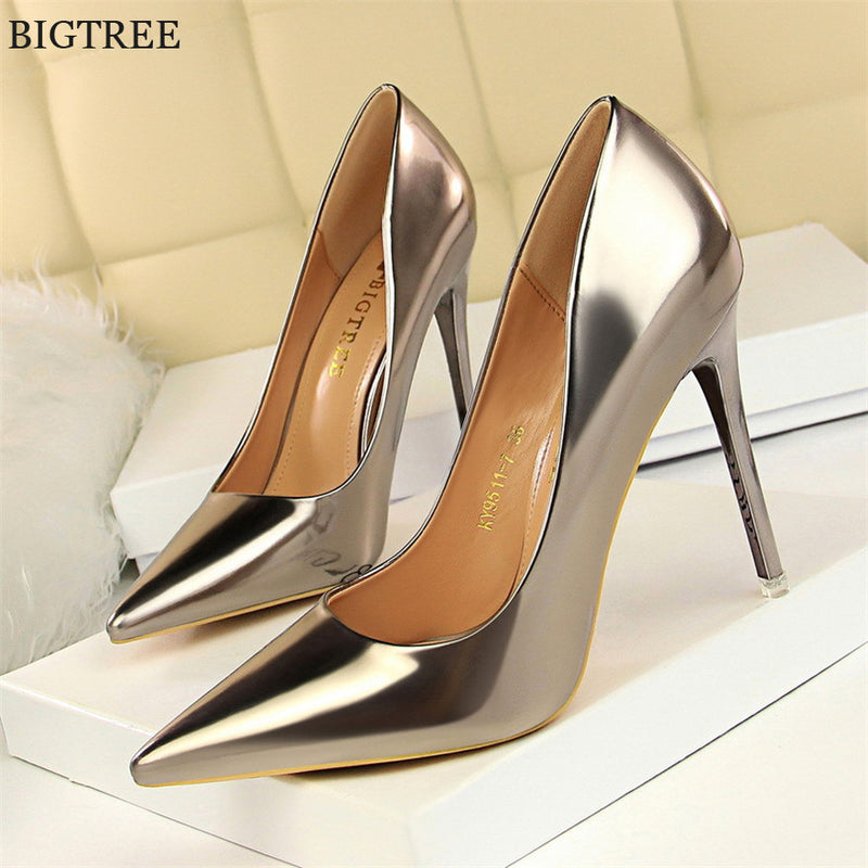 bf6392040797 Patent Leather Thin Heels Office Shoes New Arrival Women Pumps Fashion High  Heels Shoes Women s Pointed