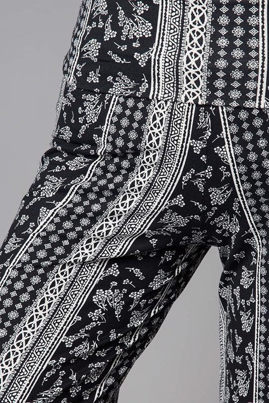 Printed Palazzo Pants with Banded Waist