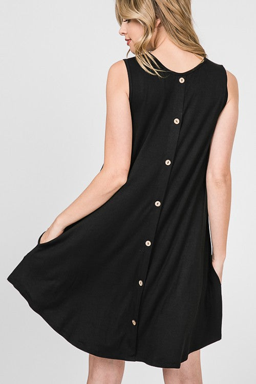 Little Black Dress with Button Back Detail - Regular