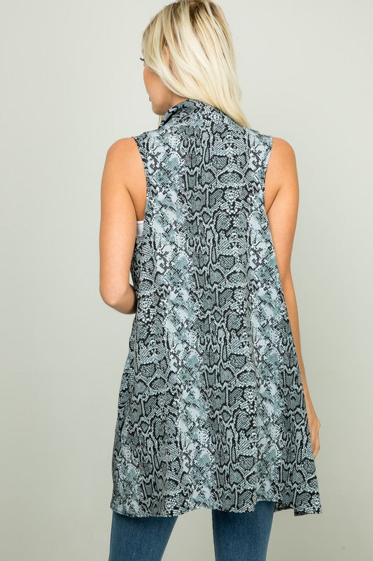 Snake Print Vest With Pocket