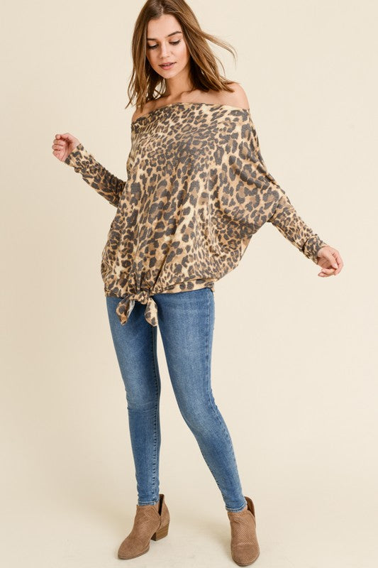 Leopard Off The Shoulder with Dolman Sleeve Top