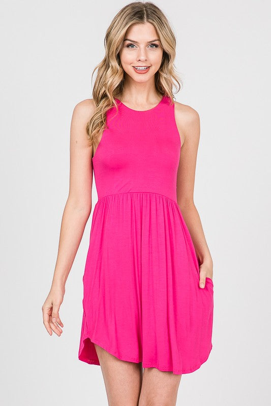 Hot Pink Tank Dress with Pockets