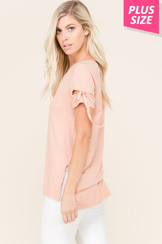 Cut Out Shoulder Top with Side Slit - Curvy