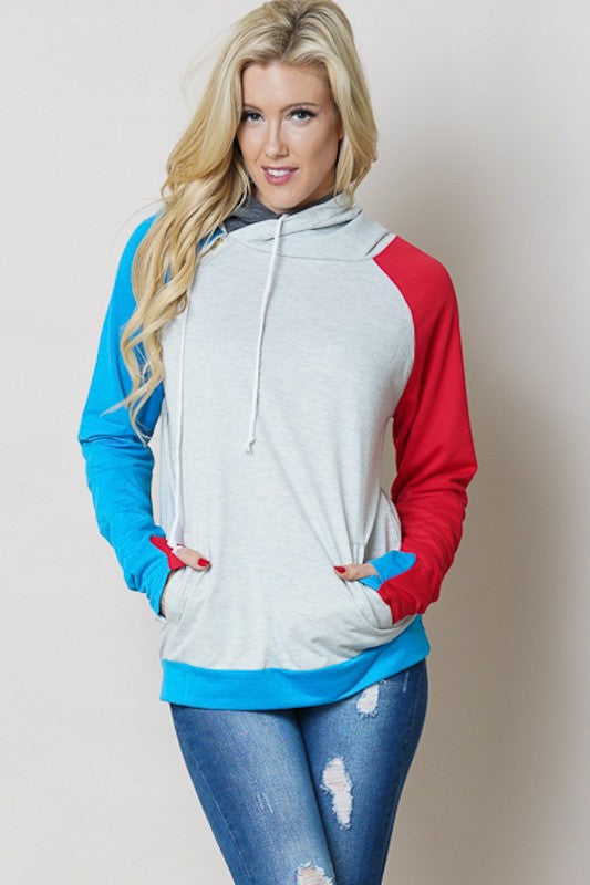 Red & Blue Double Hoodie with Thumbholes