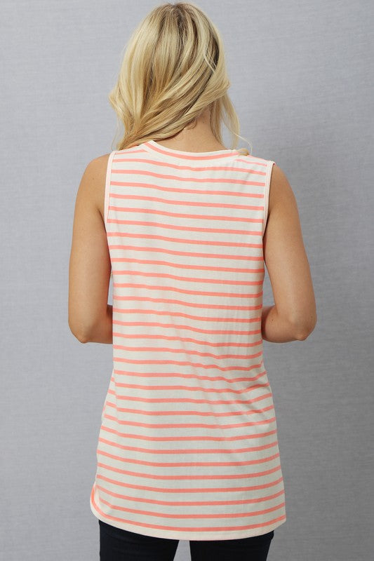 Neon Coral Striped Tank Top