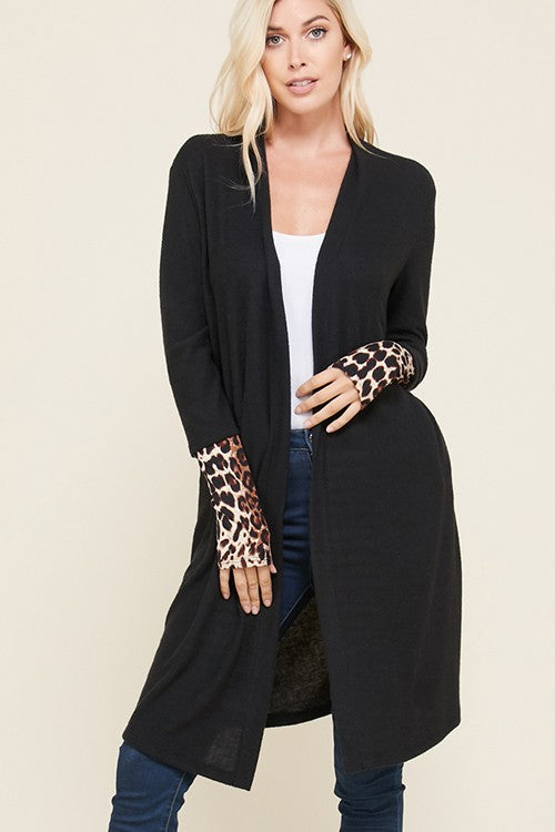 Pocketed Cardigan with Contrast Leopard Print Sleeve