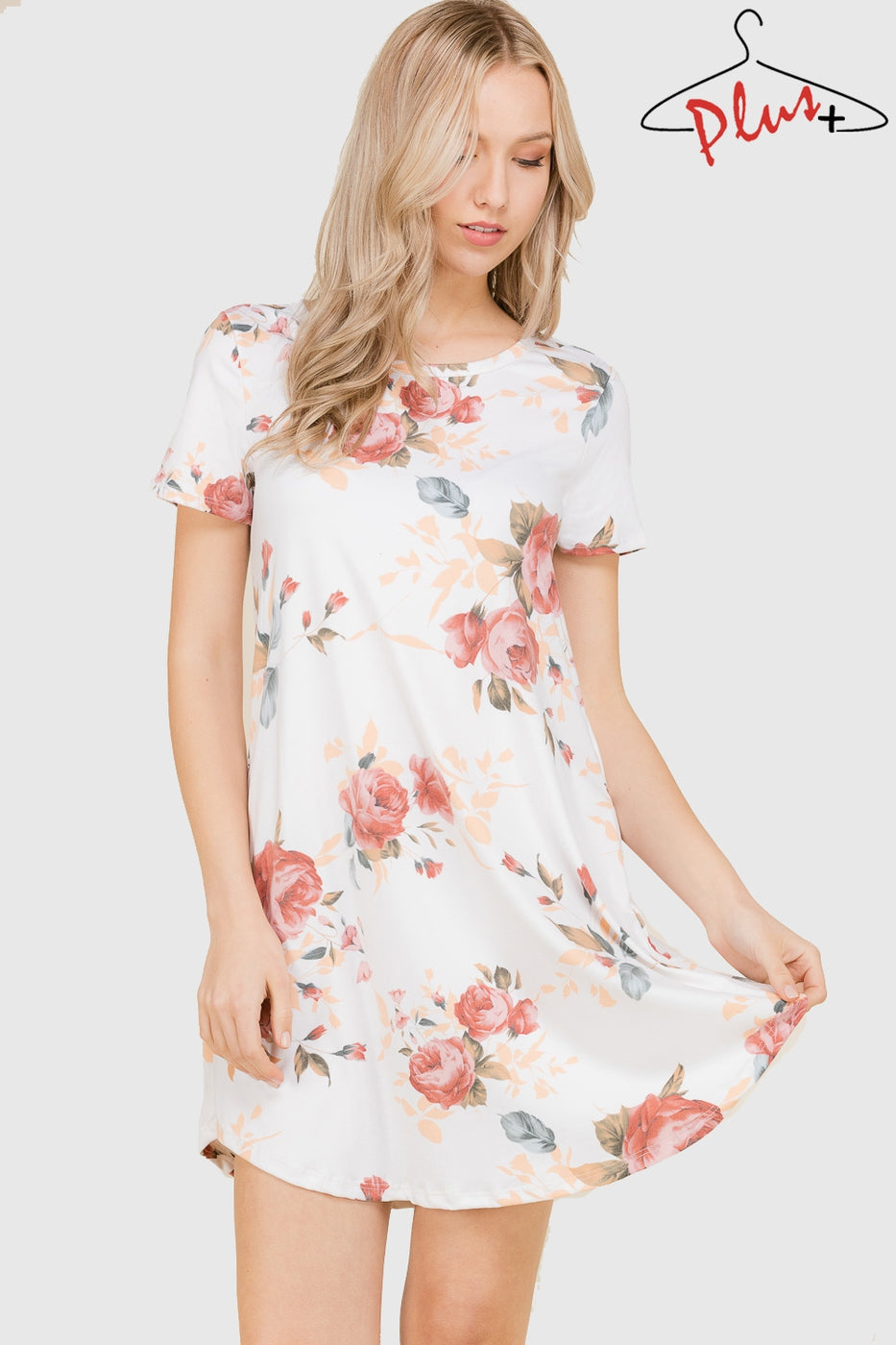 Short Sleeve Ivory Floral Tunic Dress with Pockets - Curvy