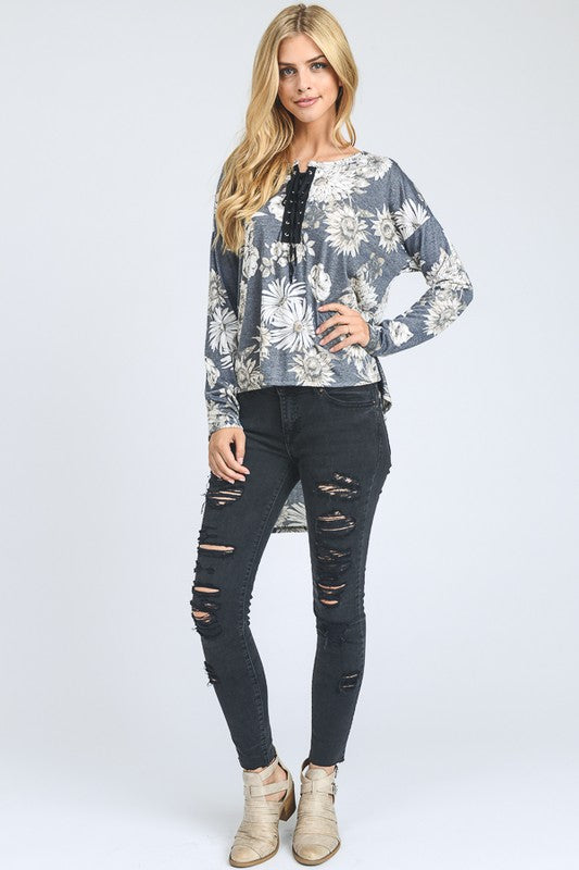 Floral Hi-Low Top with Lace Up Trim Detail