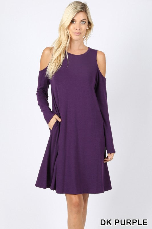 Cold Shoulder Dress with Pockets - Dark Purple