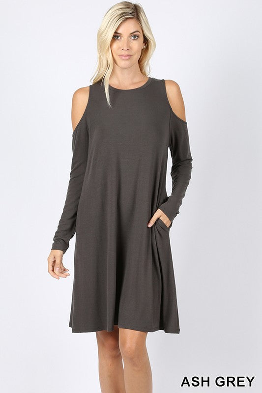 Cold Shoulder Dress with Pockets - Ash Grey
