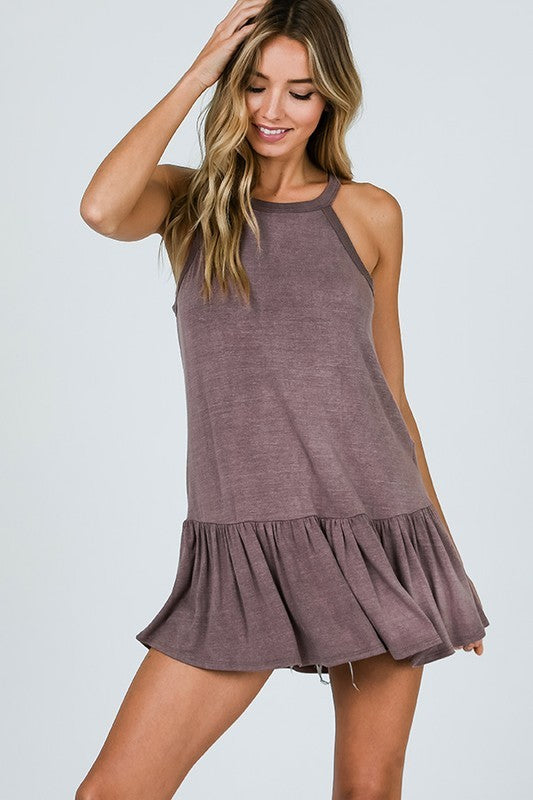 Sleeveless Tank Top With Ruff Hem and Back Lattice Detail