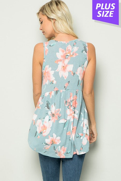 Sleeveless Blue Floral Baby Doll Top - CURVY
