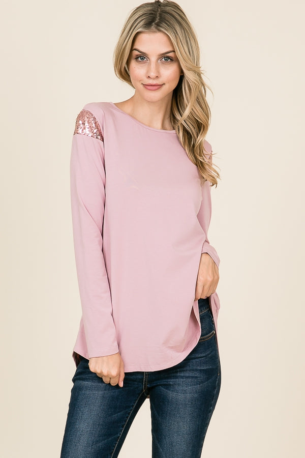 Rose Sequin Shoulder Long Sleeve Top