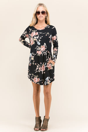 Black Floral Tunic Dress with Pockets